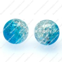 Acrylic Crackled beads ,Round Beads 8mm ,blue color