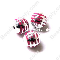 Acrylic Plated Beads ,Striated surface,Round Beads 14mm,Fuchsia