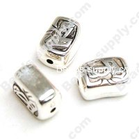 Antique Silver Plated Acrylic Beads 16x12x9mm