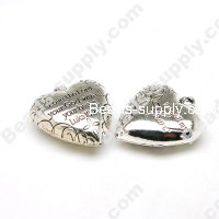 Antique Silver Plated Acrylic Heart Beads 10x26x27mm