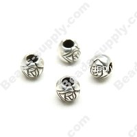 Antique Silver Plated Acrylic Rose Beads 8mm