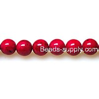 Bead ,Dyed Fossil beads ,round 10mm , bright red