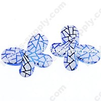 Bead, Meshing UV engraved , blue color, 29x21x6mm butterfly beads. Sold per pkg of 100 PCS