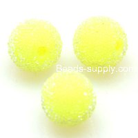 Bead, acrylic, yellow, 14mm round beads . Sold of 200 Pieces