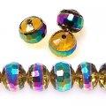 Bead, glass rondelle, centre part plated,gold-yellow with rainbow, 9x12mm rondelle beads. Sold per pkg of 160 PCS