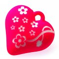Beads,13x34x35mm satin rose heart beads,fuchsia rubberized beads,sold of 100 pcs per pkg