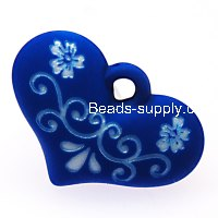 Beads,9x20x28mm satin heart beads,blue rubberized beads,sold of 100 pcs per pkg