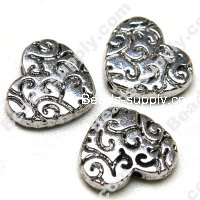 Beads,Casting Heart Beads 23*25mm,Antique Silver