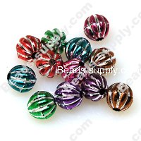 Beads,Loose beads,8mm pumpkin shape,colorful beads with silverline sold of 2200pcs