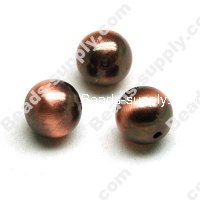 Brushing Antique Copper Acrylic Round Beads 12mm