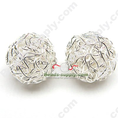 Crochet Metal Round Beads 18mm - Click Image to Close