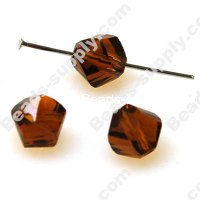 Faceted Twist Glass Beads 10 mm,Coffee