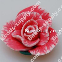 Fimo Rose Beads 30mm,Red