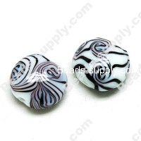 Foiled glass Coin Beads ,Black