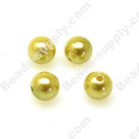 Imitation Pearl Round Bead 4mm , Lt Yellow