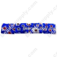 Millefiori Glass Multi-Flower Flat Rectangle Beads 10x12 mm