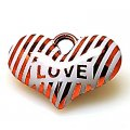 Pendant,UV Plated Pendants with Striated surface,LOVE Heart 39*27.5*12mm,Red