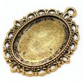 Pendants,29*39mm Oval Cameo Cabochon Base Setting Pendants,Antique Gold Plated,Sold 100 Pcs Per Lot