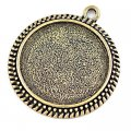 Pendants,44x39mm Cameo Cabochon Base Setting round Pendants£¬Antique Bronze Plated,Sold 50 Pcs Per Lot