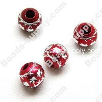 Aluminium Round Beads 12mm ,Red