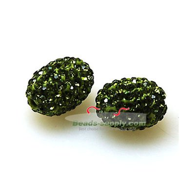 Bead,polyclay and crystal,9*13mm oval pave beads,olivine color,sold 20 Pcs Per Package - Click Image to Close