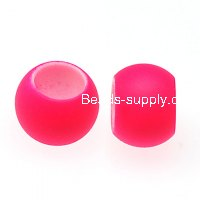 Beads,8x10mm rubberized plastic beads,large hole satin beads for DIY charm bracelet,pink