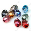 Beads,Loose beads,10*13mm Oval Aluminium Beads,colorful beads with carving, sold of 200pcs