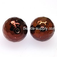 Beads,acrylic,UV plated 18mm faceted round UV coated plastic beads,coffee plated perles,sold of 135 Pcs