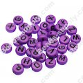 Beads,solid acrylic Alphabet Beads ,4x7mm,purple ,assorted letters