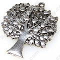 "Charm,antiqued""pewter"" (zinc-based alloy), 36x45mm tree . Sold per pkg of 50"