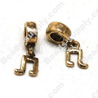 European Style Beads,18k Antique Gold,Musical Note
