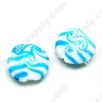 Foiled glass Coin Beads ,Lt Blue