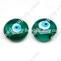 Foiled glass Coin Beads