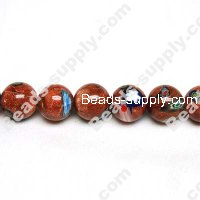 Millefiori Glass Multi-Flower Round Beads 12 mm