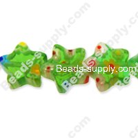 Millefiori Glass Multi-Flower Star Beads 10 mm