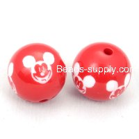 16mm engraved mickey mouse Carved acrylic round beads,red