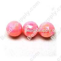 6 MM Acrylic Football Beads , AB Colored , Pink