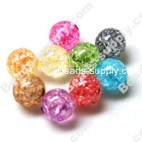 Acrylic Crackled beads ,Round Beads 18mm ,Assorted