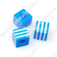 Bead, Resin, Blue/White, Square 10*10 MM