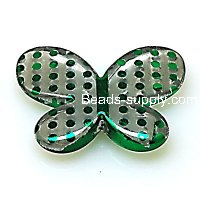 Bead,UV Plated Beads with dot surface,Butterfly Beads 44*33*6.5mm,Green
