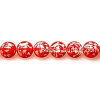 Bead, lampworked glass, red and transparent, 12mm double-sided flat round with specail design