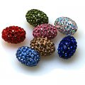 Bead,polyclay and crystal,11*15mm oval pave beads,Mixed Color,Sold 20 Pcs Per Package