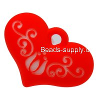 Beads,9x20x28mm satin heart beads,orange rubberized beads,sold of 100 pcs per pkg