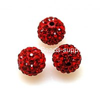 Beads,Pave Polyclay Round Beads 8mm , Lt Siam