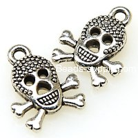 "Charm,antiqued""pewter"" (zinc-based alloy), 13x17mm Pirates skeleton head. Sold per pkg of 500"
