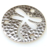 "Charm,antiqued""pewter"" (zinc-based alloy), 40x1.2mm round dragonfly. Sold per pkg of 100"