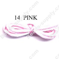 Cord, Bugtail, satin, pink, 1.2mm.