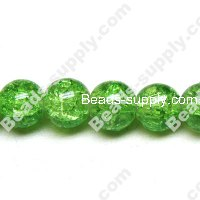 Cracked Round Bead 6mm,Green