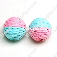 Crochet Beads 22mm ,Aqua with Pink