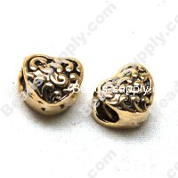 European Style Beads,18k Antique Gold,Baroque Heart